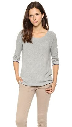 An easy-to-layer Soft Joie sweater in soft waffle knit. Contrast edges and 3/4 sleeves