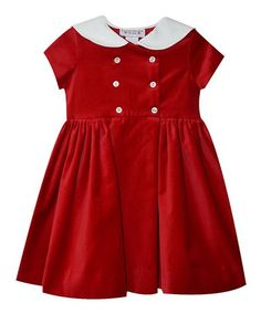 This Red Velveteen Double-Breasted Dress - Toddler & Girls is perfect! #zulilyfinds