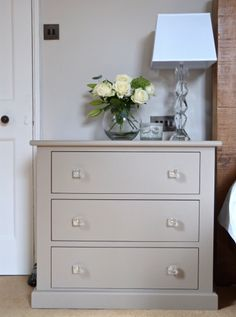 Walls and cabinetry in Little Greene Rolling Fog