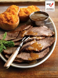 Pot Roast with Cider-Maple Gravy and Mashed Butternut Squash — What a winter warmer! All of fall's preserved flavors are in this dish, especially the two sweetest: apple cider and maple syrup. You'll love the balance of textures the toothsome pot roast and the creamy butternut squash provide. @Tops Friendly Markets #celebratewithbeef