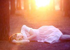 white dress + sunset #forest #lipstick