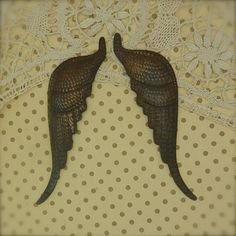 "Large Pair of Aged Angel Wings 5"" 3/4"" long. These are sold brass and then an aging patina is added"