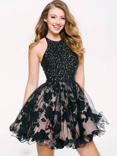 Stylish A-Line Halter Homecoming Dress,Party Dress,Black Lace Short Homecoming Dress With Fit And Flare Cocktail Dress, Short Cocktail Dress, Jovani Dresses, Chiffon Evening Dresses, Black Party Dresses, Short Dresses, Formal Dresses, Dress Party, Pretty Dresses