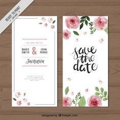 Watercolor roses wedding invitation Free Vector