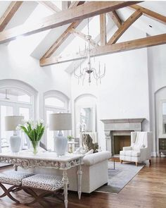 Living Room Ceiling Beams Unique Pin by ashley Connolly On Build Me ❤️ In 2019 Design Living Room, Family Room Design, Vaulted Living Rooms, Plafond Design, Interior Desing, Interior Modern, Room Interior, Ceiling Beams, Vaulted Ceilings