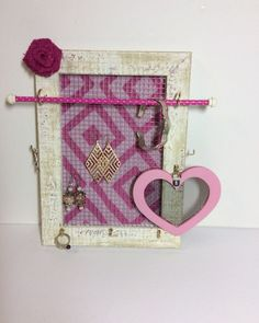 Jewellery organizer frame, Vintage inspired jewelry storage, Stud earring holder, Hot Fushia Pink jewelry stand, girl gift by PicToFrame on Etsy