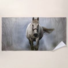 Horse in a Foggy Forest Beach Towel - home gifts ideas decor special unique custom individual customized individualized