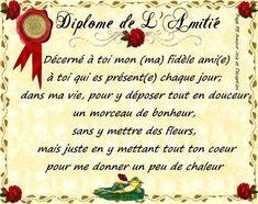 Diplome de L'Amitié Image Citation, Presentation, Arabic Calligraphy, Messages, Thoughts, Images, Imagination, Scrapbooking, Facebook