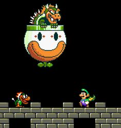 Bowser flying in his classic clown car. In-game screenshot from Super Mario Bros. 3