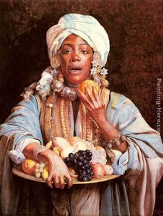 ... Paintings - Guiseppe Signorini A North African Fruit Vendor Painting