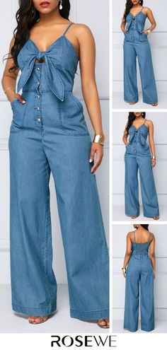 This jumpsuit with Spaghetti Strap can make you look much sexier and Knot Front design make you full of charm,you can wear it to your party or wear it at your daily time is very suitabe,get one you like. Source by frescos Fashion Sewing, Denim Fashion, Boho Fashion, Fashion Looks, Fashion Outfits, Classy Fashion, Spring Fashion, Style Fashion, Curvy Women Fashion