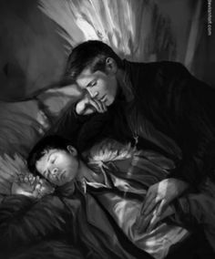 Dean and Castiel in black and white! Stunning!