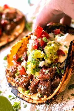 Happy Taco Tuesday with juicy CARNE ASADA STREET TACOS exploding with flavor and your favorite toppings with just minutes of prep! Mexican Dishes, Mexican Food Recipes, Beef Recipes, Cooking Recipes, Recipies, Ethnic Recipes, Tasty Meal, Harira, Asada Tacos