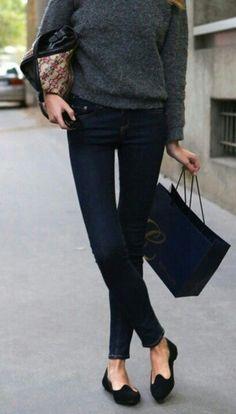 Slip on , jeans , Long sleeve