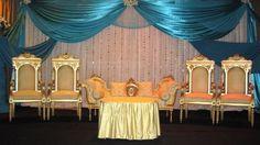Blue, white & gold wedding stage!