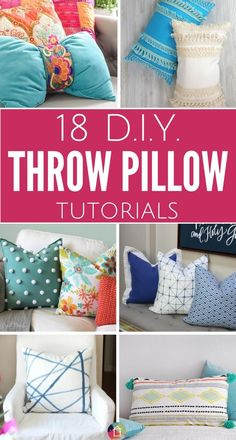 You can totally transform the look of a room by just changing the throw pillows! This list of cute throw pillows has some great DIY throw pillow options AND affordable throw pillows that you can buy if you aren't into DIYing :) Cute Pillows, Colorful Pillows, Diy Pillows, Decorative Pillows, Cushions, Sofa Pillows, Making Throw Pillows, How To Make Pillows, Beige Couch