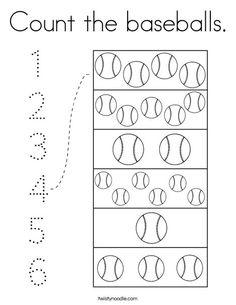Count the baseballs Coloring Page - Twisty Noodle Summer Preschool Themes, Free Preschool, Preschool Classroom, Preschool Learning, In Kindergarten, Preschool Activities, Baseball Activities, Sports Activities For Kids, Baseball Coloring Pages