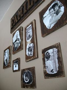 black and white pictures on wood scraps - not sure Id be able to do all the sanding and distressing she does though?