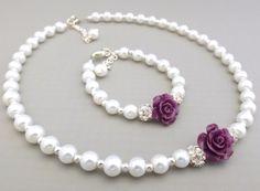 Dark purple plum flower girl set childrens pearl by Gemnotic
