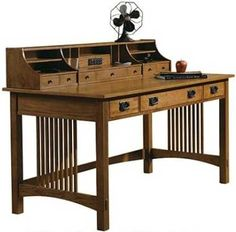 My antiques: the fan (not the desk... Yet!) Hekman Arts & Crafts Writing Desk