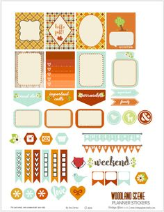 Free Printable Woodland Scene Planner Stickers from Vintage Glam Studio Free Planner, Planner Pages, Happy Planner, 2015 Planner, Blog Planner, Planer Organisation, Project Life, Planner Supplies, Planner Ideas