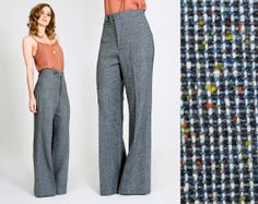 vintage 70s WOOL TWEED wide leg Pants