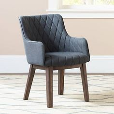 Avery Solid Acacia Wood Charcoal Linen Upholstered Armchair