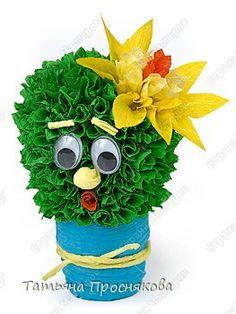 Мастер-класс Торцевание на пластилине Цветущий кактус Бумага гофрированная Пластилин