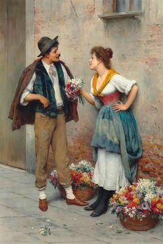 La vendedora de flores. Pinturas de De Blaas