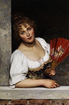 The Athenaeum - The red fan Eugene de Blaas - 1892 Painting - oil on panel Mary Cassatt, Italian Painters, Italian Artist, Renoir, Munier, Hand Held Fan, Hand Fans, Victorian Art, Portraits
