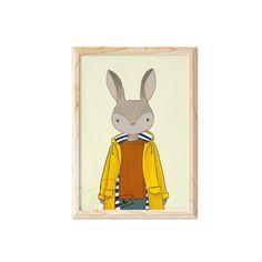 Rabbit Boy Illustration Print Kids Room Wall Art, Nursery Wall Art, Vibrant Colors, Colours, Boy Illustration, Childrens Wall Art, Crisp Image, Hand Designs, Nursery Prints