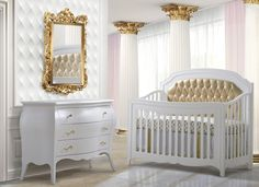 Nursery Necessities Baby Cribs egra Gold 5 In 1 Convertible Crib with Gold Diamond Tufted Upholstered Headboard Panel at PoshTots Cute Teen Rooms, Baby Boy Rooms, Baby Cribs, Baby Room, Gold Furniture, Nursery Furniture, Kids Bedroom Designs, Convertible Crib, Headboards For Beds