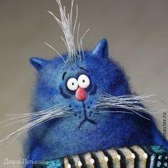 Кот-музыкант - синий,1 апреля 2014,кот,кот из шерсти,интерьерная игрушка