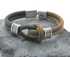 FREE+SHIPPING+Men's+leather+bracelet+Natural+and+by+eliziatelye,+$28.00