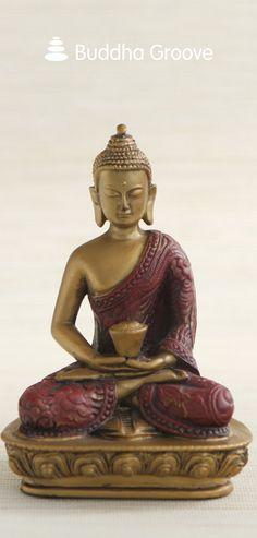 Buddha in Meditation, Red and Gold Finish, 5.5 Inches