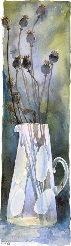 Title: poppy Seed heads This is a high quality full sized Giclée print, of an original watercolour of poppy seed heads in a vase. The original