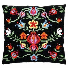 A traditional floral design with a black background.