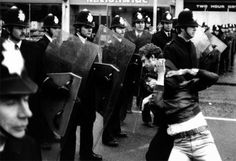 After the first Brixton riots of the subsequent report by Lord Scarman concluded that these were 'essentially an outburst of anger and resentment by young black people against the police'. European History, British History, World History, Riot Police, Police Officer, British Police Cars, National Front, London Police, People Running