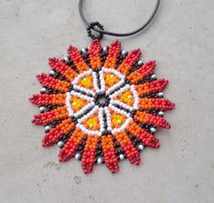 Huichol mandala collier mexicain, inspiré par l'Amérindien, collier Boho, Folk art, broderie de perles ethnique,