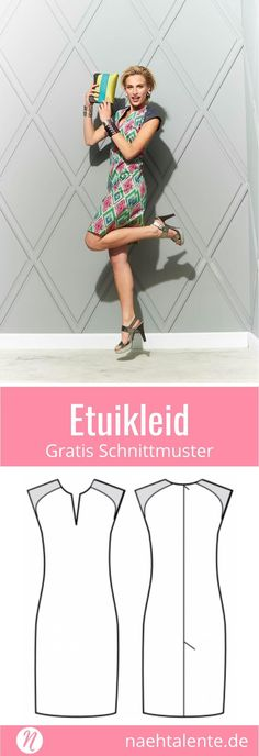 Etuikleid für Damen - gratis Schnittmuster Tipp - Größe 36 - 46 Free pattern for a smart shift dress in Gr. 36 - A sheath dress always fits and you are perfectly dressed for all occasions. Sewing Patterns Free, Free Sewing, Dress Patterns, Free Pattern, Pattern Sewing, Pattern Dress, Sewing Dress, Sewing Clothes, Diy Mode