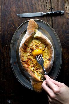 Georgian egg and cheese bread - ajarian khachapuri