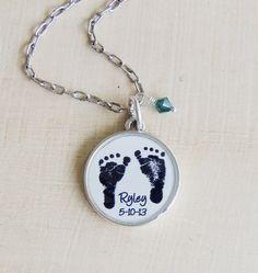 Baby Footprint Necklace CUSTOM Mother's von Metamorphosis07