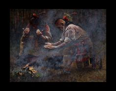 Smudging by Steve White kp Steve White, Longhunter, American Frontier, Old West, First Nations, Native American Indians, Smudging, Woodland, Wall Art