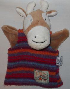 "Moulin Roty Hand Puppet Deer Cow 10"" Striped Sweater La Grande Famille #MoulinRoty"