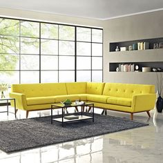 Engage L-Shaped Sectional Sofa, Sunny - Gently sloping curves and large dual cushions create a favorite lounging spot. Whether plopping down after a long day at work, settling in with coffee and brunch, or entering a spirited discussion with friends, the Engage Living Room Set is a welcome presence in your home. Buttons create eye catching appeal; adding depth that brings your sitting decor to center stage. Four rubber wood legs and frame supply a solid base to the comfortable upholstered…