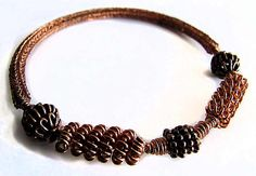 Copper Viking Knit Bangle with Beads and Coils by Jewelry24Seven, $39.99