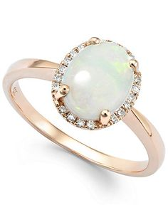 Opal (1 ct. t.w.) and Diamond Accent Oval Ring in 14k Rose Gold - Rings - Jewelry & Watches - Macy's