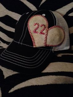 Baseball Mom Hat w/permanent Baseball by ZackandJacksBoutique