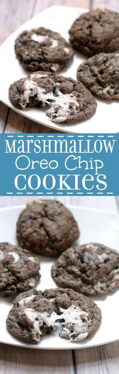 Marshmallow Oreo Chip Cookies are a sort of everything-but-the-kitchen-sink chocolate cookie recipe with gooey marshmallows Oreos and Cookies 'N Cream Bars.
