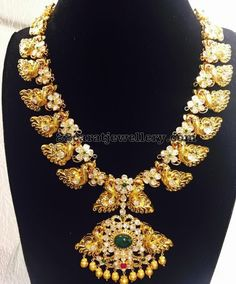 Peacock Floral Pachi Necklace - Jewellery Designs
